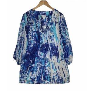 Soft Surroundings Silk Tides Top Tunic Shirt Beaded Blue 100% Silk Size L